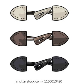 Fashion Elements: Faux Leather & Faux Horn Toggle Closure Vector Illustration