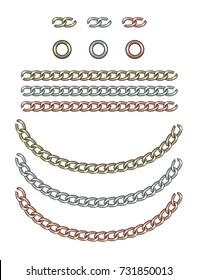 Fashion Elements: Gold, Silver, & Rose Gold Interlocking Chain Vector Illustration