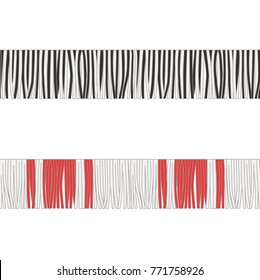 Fashion Elements: Multi-Colored Thick Fringe Trim Vector Illustration for Melange, Stripe, or Plaid