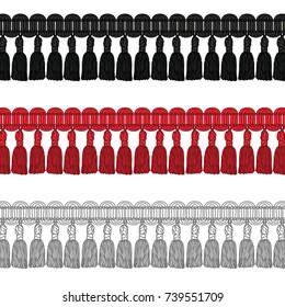 Fashion Elements: Novelty Gimp Tassel Trim Vector Illustration