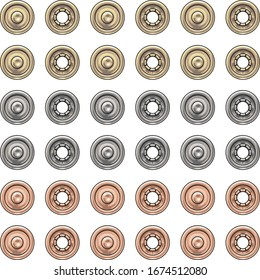Fashion Elements: Round Metal Snaps Vector Illustration in Gold, Silver, & Rose Gold