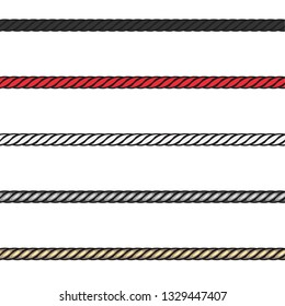 Fashion Elements: Twisted Rope Cord Trim in Solid & Metallic Vector Illustration