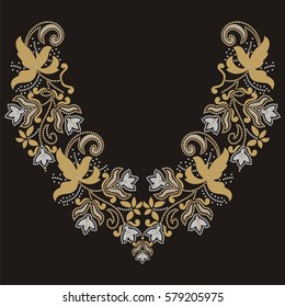 Fashion embroidery haute couture collar, beautiful motif applique rhinestones, gems, trendy decor, print for clothes,  color gold and silver - stock vector