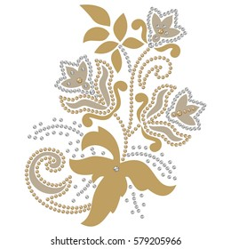 Fashion embroidery haute couture pattern, beautiful motif applique rhinestones, gems, trendy decor, print for clothes,  color gold and silver - stock vector