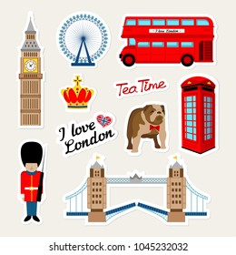 Fashion english patch badges with london bus, telephone, crown, england bulldog, bridge, guard, london travel and other. Very large set of girlish and boyish stickers, travel london patches in cartoon
