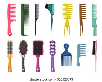 Fashion equipment collection of combs  hairbrush for hair, set of different types of combs, vector isolated on white background, Hairdresser style accessories, hairdryer