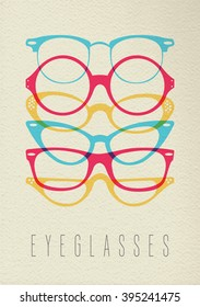 Fashion eye glass concept icon, illustration of hipster vintage glasses in colorful transparent style over texture background. EPS10 vector.