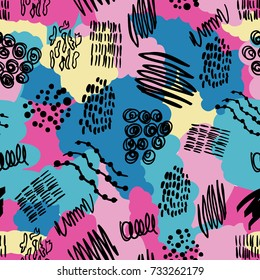 Fashion fabric vector abstract seamless pattern. Hand drawn print design illustration