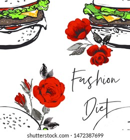 Fashion fast food seamless with fashion diet script and white hamburger with roses flowers. Stylish modern textile design. Vector fashion sketch. White background. Vintage fabric print.