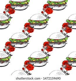 Fashion fast food seamless with hamburger and roses flowers. Stylish modern textile design. Vector fashion sketch. White background. Vintage fabric print. Beautiful pattern.