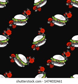 Fashion fast food seamless with hamburger and roses flowers. Stylish modern textile design. Vector fashion sketch. Black background. Vintage fabric print. Beautiful pattern.