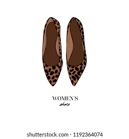 f81dfa39f Fashion female ballet flats shoes with leopard print style. Women's shoes  icon isolated on white