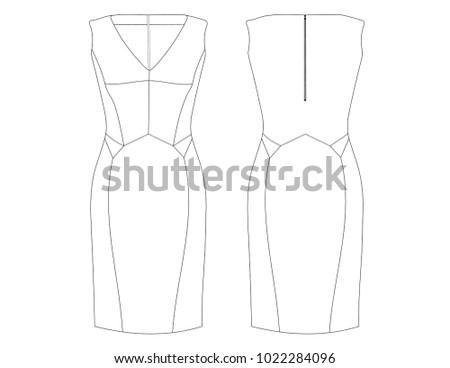 fashion flat drawing template elegant dress stock vector royalty