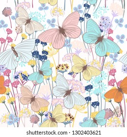 Fashion floral pattern with butterflies and plants