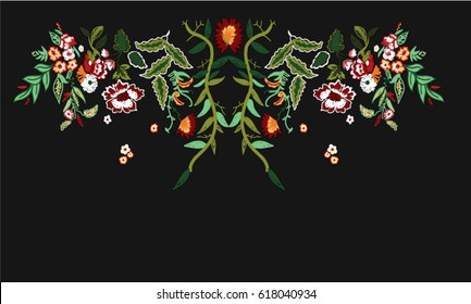 fashion flowers embroidery