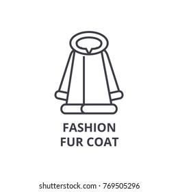 fashion fur coat line icon, outline sign, linear symbol, vector, flat illustration