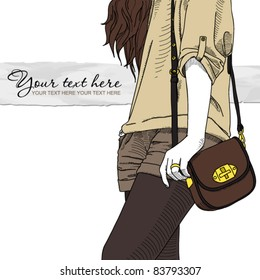 Fashion girl with bag. Vector illustrator. Place for your text