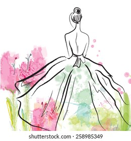 Fashion girl in beautiful dress - sketch on the floral background
