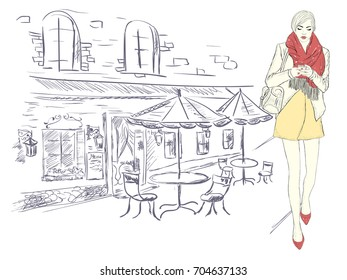 Fashion girl in the big city on the background of architecture. Hand drawn vector illustration.
