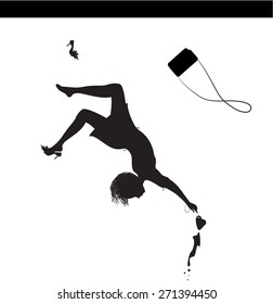 fashion girl falling with cup of coffee, elegance falling, upside down, silhouette, vector