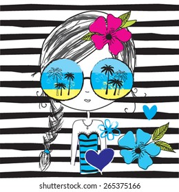 fashion girl with glasses on the beach, T-shirt design, striped background vector illustration