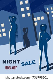the fashion girl icon in the night street. Black friday sale banner. night sale fashion background. hipster girl on the big city background. poster for sale. Seasonal sale. Beautiful fashion style