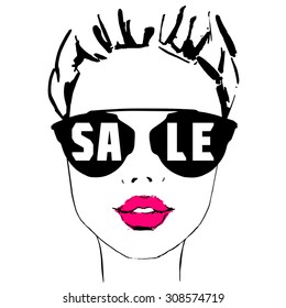 Fashion Girl with pink lips in sunglasses sale