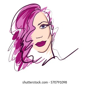 Fashion girl portrait. Beautiful woman, graphic, sketch, drawing, vector.