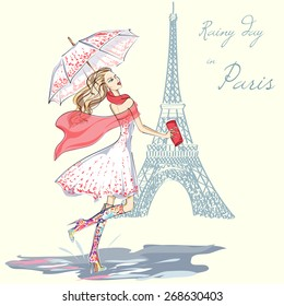 Fashion girl rainy day in Paris hand drawn illustration Background with model