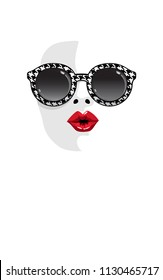 Fashion girl with red lips kiss in sunglasses. Woman silhouette face halftone vector illustration. Stylish graphics portrait in glasses with black white crow's foot pattern. Pop art. Summer holiday