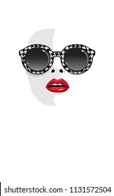 Fashion girl with red lips in sunglasses. Woman silhouette face halftone vector illustration. Stylish graphics portrait in glasses with black and white crow's foot pattern. Pop art. Summer holiday.