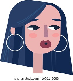 Fashion girl with round earrings. Vector illustration. Portreit.