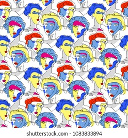 Fashion girl seamless pattern. Model Woman, line art background. Hand drawn vector illustration. Glamour