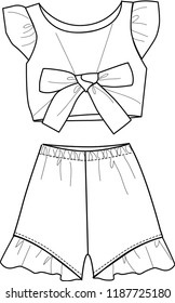 fashion girl set blouse and flare pant template outline design