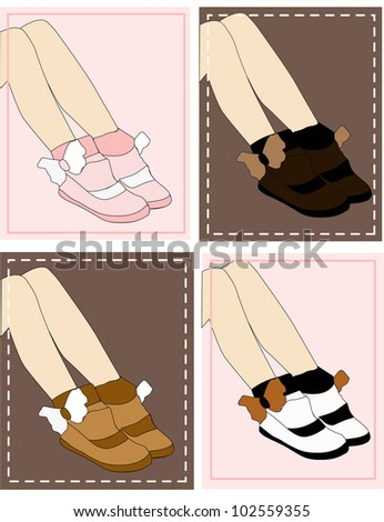 42c8df13077 Fashion Girl Shoes Pink Brown Black Stock Vector (Royalty Free ...