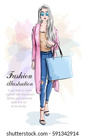 Fashion girl with shopping bag. Fashion set. Stylish woman. Vector illustration.