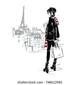 Fashion girl in sketch style on a white background in Paris. Vector illustration.