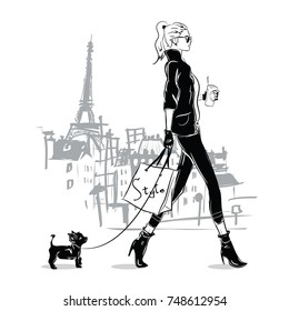 Fashion girl in sketch style with a small doggie in Paris, France.