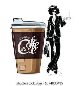 Fashion girl in sketch-style with big cup of cofe. Vector illustration.