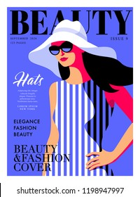 Fashion girl wearing striped dress and big hat. Woman magazine cover design. Vector illustration