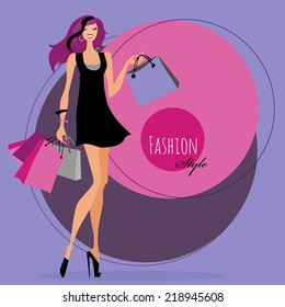 Fashion girl. Woman with shopping bags. Vector illustration.