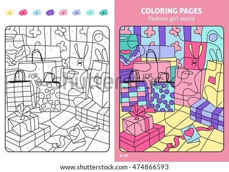 Fashion Girl World Coloring Pages Kids Stock Vector Royalty Free