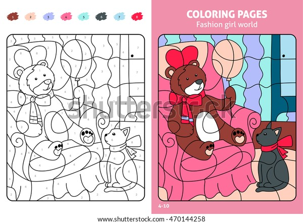 Fashion Girl World Coloring Pages Kids Stock Vector Royalty Free 470144258