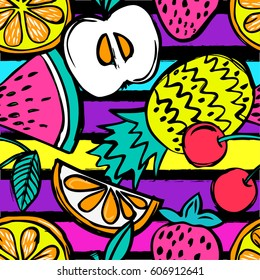 Fashion Girlish funny wallpapers. Seamless pattern with yellow pineapples, juicy strawberries and oranges on black background. Bright  tropical fruits illustration for fabric and decor.