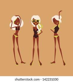 fashion girls in bikini summer vector illustration eps 10