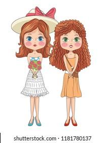 Fashion girls cartoons