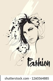 Fashion girls face. Woman face. Hand-drawn fashion model.