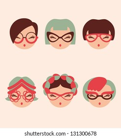 fashion girls in glasses icon set vector illustration eps 10