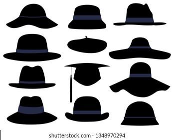 Fashion Girls hats vector icons illustration set