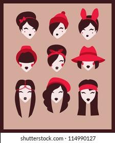 fashion girls icon set vector illustration eps 10